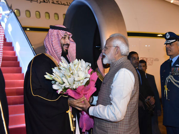 Pm Modi Receives Saudi Crown Prince Mohammed Bin Salman At Delhi International Airport