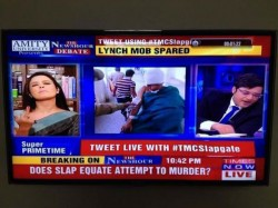 Tmc Spokesperson Mahua Moitra Gives Middle Finger To Arnab Goswami On Air