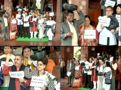 Tmc S Agitation With Black Bucket Outside Of Parliament