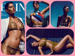Tanned Hot Nargis Fakhri Gold Bikini Photoshoot Femina Magazine April Issue