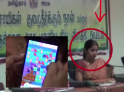 Caught On Camera Tn Lady Officer Playing Candy Crush During Farmers Grievance Meet