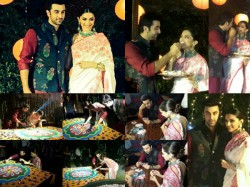 Deepika Padukone Ranbir Kapoor Celebrating Diwali Promoting Tamasha In Delhi Pics