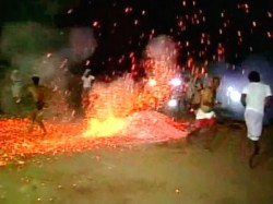 Video People Throw Burning Embers As A Part Of Ugadi Festival
