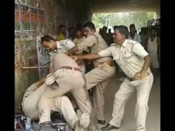 Caught On Camera Lucknow Policemen Brawl In Public Over Bribe Video