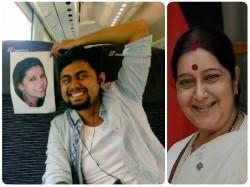 Husband Goes Alone On Honeymoon Sushma Swaraj Address His Problem