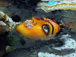 In Pices Durga Idol Immersion At Kolkata