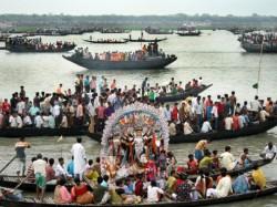 Durga Idol Immerson At Ichamati River