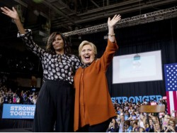 Michelle Obama Hillary Clinton Share Stage First Ladies
