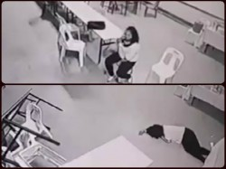 Violent Ghost Knocks Woman Sends Furniture Flying Footage On Cctv Camera