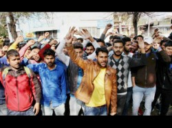 Protest Against Increased Admission Fees Before The Meeting Of Chief Minister