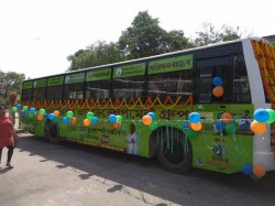 At Rs 1 17km Cheapest Bus India Fuelled Cow Dung Biogas Launched Kolkata