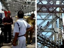 Mentally Challenged Youth Climbs At The Top Howrah Bridge