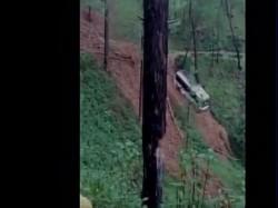 Bus Slids Into Gorge Due Landslide Passengers Rescued Safely