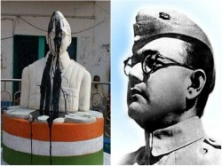 On The Day Independence The Idol Netaji Was Also Given Dirty