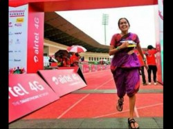 Hyderabad Woman Takes Part Marathon Wearing Saree