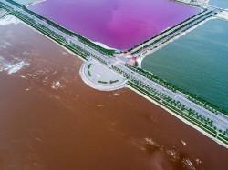 Chinas Yuncheng Lake Turns Extraordinary Pink Green