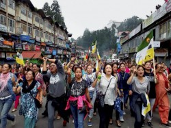Darjeeling Unrest Continues Bimal Gurung Supporters Come Down Streets Support Strike Shut Down Hill