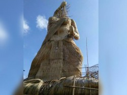 Storm Topples World S Tallest Durga Bamboo Idol Guwahati