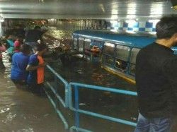Half A Bus Is Drowned Stagnant Stagnant Water