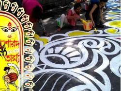 Kolkata S Road Is Decorated With Longest Alpana In Samajsebi Sangha S Pujo