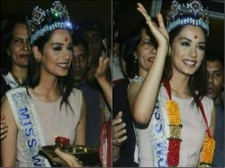 Miss World 2017 Manushi Chillar Gets Grand Welcome India