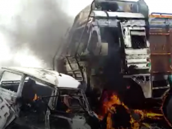 Three Are Died An Accident Burn Alive Truck Ambulance Collision