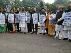Tmc Protest Against Frdi Front The Gandhi Stachu The Sansad Bhavan Premises