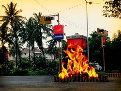 A Traffic Booth Is Burnt After Accident On Highway East Midnapur