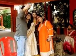 Sourav Ganguly Stumbles While Taking Selfie With Daughter Sana On Saraswati Puja Celebration