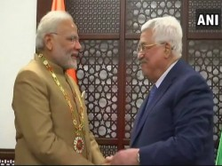 Pm Modi Palestine President Mahmoud Abbas Witness Exchange Agreements