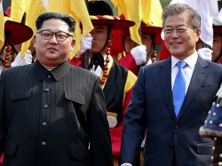 Kim Jong Un Makes History Crosses Border Meet His Rival Moon Jae In