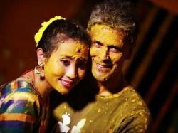 Milind Soman Ankita Konwar Look Radiant At Their Haldi Ceremony In Alibaug