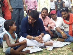 Babul Supriyo Campaigns Panchayat Election Sit On The Ground In Asansol