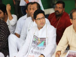 Abhishek Bandyopadhyay Sits On Hunger Strike Front Gandhi Statue In Protest Price Rise Petro Product