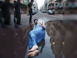 As The Part A Poll Campaign Karachi Politician Seen Lie Down In Sewage Water