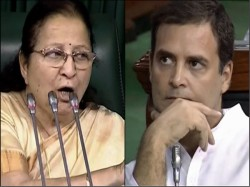 Speaker Sumitra Mahajan Does Not Support Rahul Gandhi S Courtesy Politics