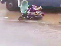 Woman Dies After Bike Hits Pothole During Heavy Rains Mumbai Incident Caught On Cctv