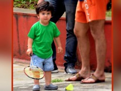 Taimur Tries Play Badminton As Daddy Saif Ali Khan Looks On