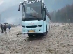 Video Shows Luxury Tourist Bus Washed Away Flooded River Near Manali