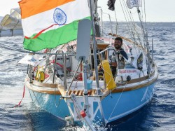 Indian Navy Abhilash Tommy Has Stuck Marine Storm Indian Ocean