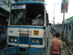 Bjp Workers Allegedly Burnt Govt Bus Kolkata After Broke It On The Bandh Day