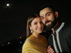 Anushka Sharma Virat Kohli S First Karwa Chauth Here Are In The Pics Bollywood Stars