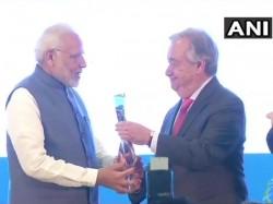 Pm Narendra Modi Receives The Unep Champions The Earth Award Un Antonio Guterres