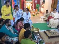 How Mamata Banerjee Celebrated Kalipuja At Her Residence See Videos
