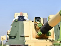Prime Minister Narendra Modi Took Ride The L T Built K 9 Vajraself Propelled Howitzer
