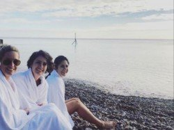Watch Video Katrina Kaif Welcomes 2019 Swimming Freezing English Channel With Sisters