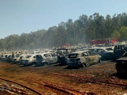 Fire Aeroshow Parking Area Under Control Bengaluru