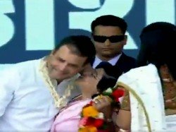Woman Kisses Congress President Rahul Gandhi During Rally Valsad Watch Video