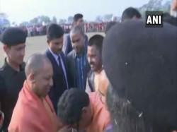 Up Cm Yogi Adityanath Arrives Bokaro Attend Rally Purulia West Bengal