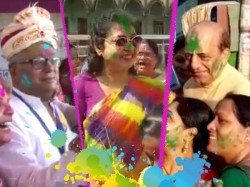 Saugata Roy Shatabdi Roy Celebrates Holi Before Election